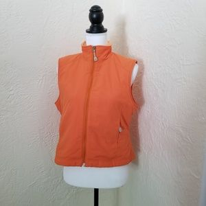 L.L. Bean petite orange fleece-lined vest